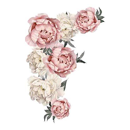 Tensay Abnehmbare Wandaufkleber Wandtattoo Wandsticker Groß Blumen Pfingstrose Rose Blumen Wasserdicht Wandaufkleber Hintergrund für Schlafzimmer Home Dekoration Aufkleber Blume Wohnzimmer