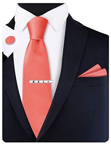GUSLESON Set bestehend aus Krawatte und Einstecktuch und Manschettenknöpfen, 8 cm - Pink - Groß