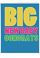 Big新しい赤ちゃんCongrats Baby Funny Greeting Card 1 Jumbo Baby Card & Enve. (J2725BBG)