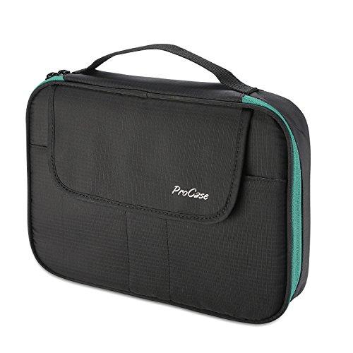 """ProCase Bolsa Organizadora Universal de Accesorios Electrónicos, Bolso de Transporte con Doble Capa Organizador Portátil de Viaje para Cargador de 9,7"""" iPad Disco Duro Banco de Energía -Negro"""