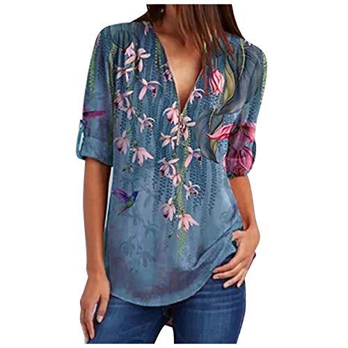 Eaylis Damen T-Shirt mit Blumendruck Lässige Modebluse Loses Hemd mit Reißverschluss Oberteil mit V-Ausschnitt Tunika Mittelärmelige Oberteile