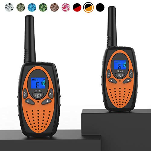Two Way Radios for Adults, Topsung M880 FRS Walkie Talkie Long Range with VOX Belt Clip/Hands Free Walki Talki with Noise Cancelling for Women Kids Camping Hiking Cruise Ship (Orange 2 in 1)
