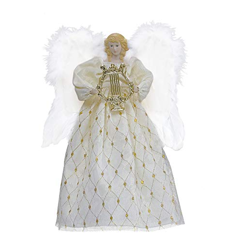 Valery Madelyn 15.7 inch Pre-Lit Elegant White Gold Christmas Angel Tree Topper, Angel Tree Top with 10 Warm LED Lights, Battery Operated (Not Included)