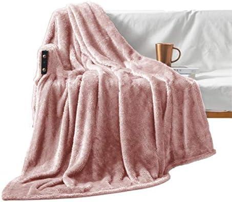 Exclusivo Mezcla Plush Fuzzy Large Fleece Throw Blanket 50 x 70 Pink Soft Warm Lightweight product image