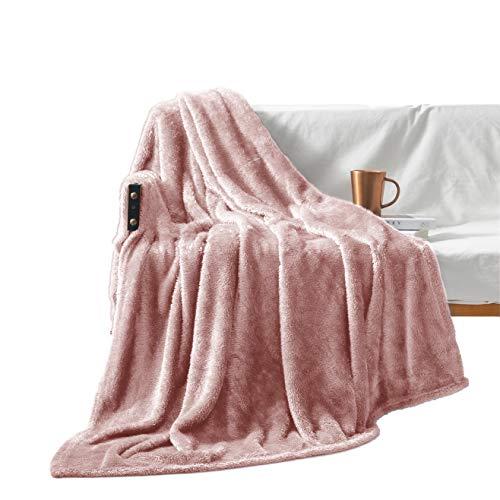 Exclusivo Mezcla Plush Fuzzy Large Fleece Throw Blanket 50quot x 70quot Pink Soft Warmamp Lightweight