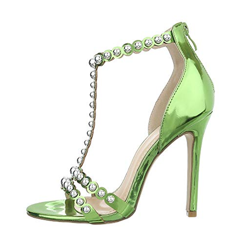 Ital-Design Damenschuhe Sandalen & Sandaletten High Heel Sandaletten Synthetik Grün Gr. 39