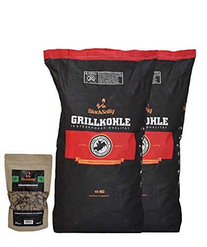 20?kg Steak House Coal Black sellig + 360?g in 8?different flavors Smoker Chips Perfect Professional Quality