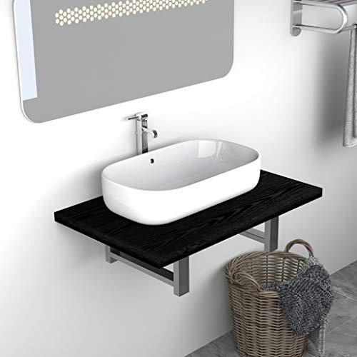 UnfadeMemory Waschtischplatte Waschtischkonsole aus Spanplatten + Metall Waschtisch-Wandregal Waschtisch Badezimmer-Wandregal für Waschbecken, Regalstärke 25 mm (60 x 40 x 16,3 cm, Schwarz)