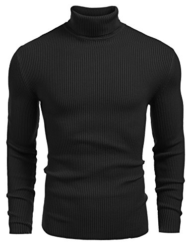 Coofandy Mens Ribbed Slim Fit Knitted Pullover Turtleneck Sweater,Large,Black