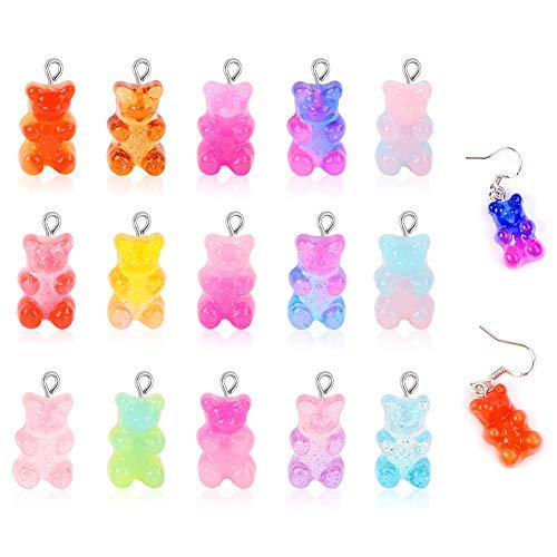 60 colgantes de oso lindo colgante de resina, colgantes de oso en 15 colores, collar de oso para pendientes