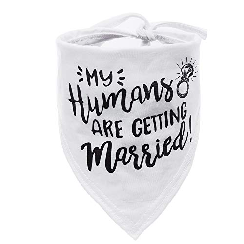 W&O My Humans are Getting Married Dog Bandana, Wedding Dog Bandana, Pet Scarf, for Small, Medium, Large Dogs (Black)