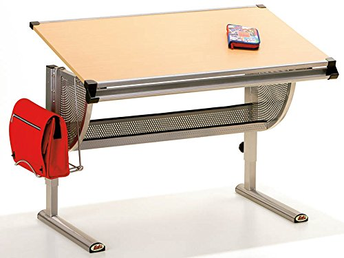 Links 50500450 Plato - Escritorio de Metal y Tablero DM de Haya (115 x 73 x...