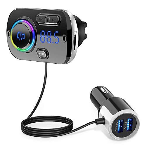 【2021最新日本語説明書付き】FMトランスミッター シガーソケット USB 車載充電器 Bluetooth 5.0+EDR 2 USBポート(5V/2.4A&3A) QC3.0急速充電 Mp3プレーヤー CVCノイズ軽減 マイク内蔵 ハンズフリー通話 TFカード/Aux-in対応 Google assistant&Siri対応 波数仕様 87.5~108.0Mhz