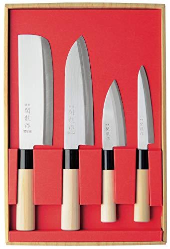 SekiRyu Messerset Japan Nakiri, Santoku, kl. Deba + Allzweckmesser incl. EIN chinesischer Kombistein