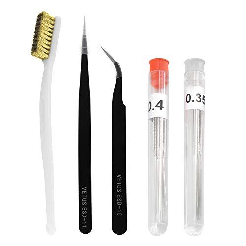 Kit di strumenti di pulizia per ugelli stampante 3D, 0,4 mm, 0,35 mm, pinzette, filamenti, clog Cleaner, accessori per trapano parziale