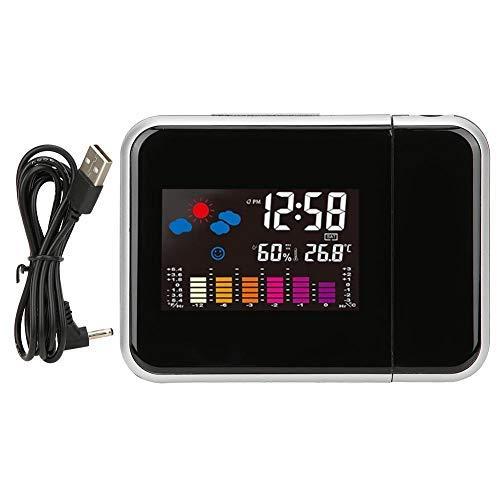 ZBBN Multifunktionaler LCD-Farbbildschirm Elektronischer Wecker Projektion Wetteruhr Projektionsuhr
