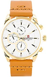 Naviforce Men's White Dial Genuine Leather Analog Watch - NF9148-GWLBN