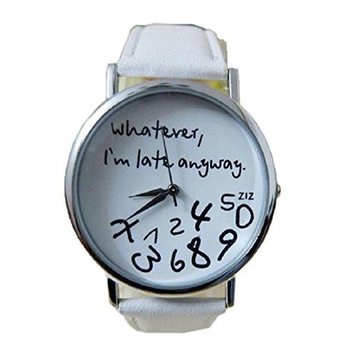 FEITONG Damenuhr Armbanduhr Quarzuhr Elegant Weiß PU Leder Uhr NEU Whatever I am Late Anyway