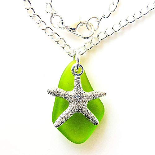 Green Sea Glass Necklace With Nautical Starfish Surf Ocean Beach Unisex Pendant on a 24 Silver Color Chain Young Handmade Mermaid Tears Jewelry Gift Under 20 Dollars