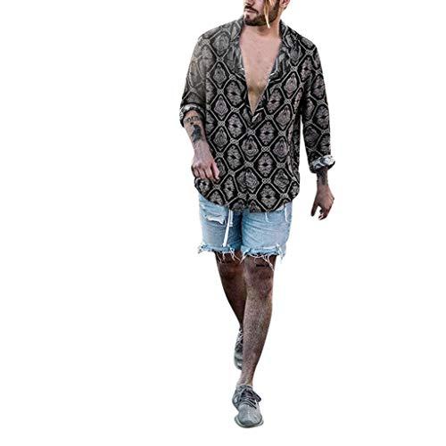 FRAUIT uitverkoop heren hemd lange mouwen Hawaii hemd met luipaard print Roll up linnen hemd zomerhemd met Hawaii-print lange mouwen shirts zacht ademend comfortabel licht blouse voor vrije tijd party M-3XL