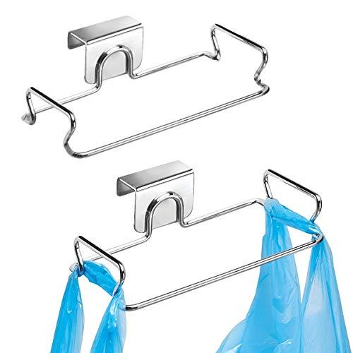 Hängender Müllbeutelhalter aus Edelstahl, Türrückseite, Müllbeutelaufhänger für Küchenschränke, Schränke, praktisch, stabil, unter der Theke über der Tür, 2 Stück