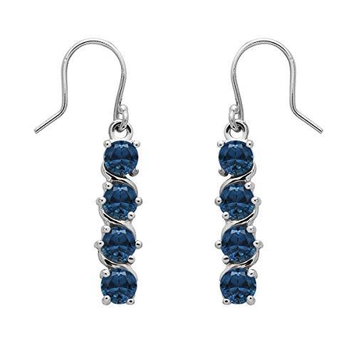 Ronda de opción múltiple Forma de piedras preciosas de plata de ley 925 Pendiente largo plateado para fiestas y fiestas (Topacio azul londres)