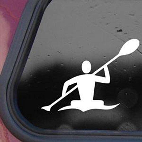 Kayak Whitewater Man Decal Vinyl Decal Sticker Cars Trucks Walls Laptop 7 in White KCD378