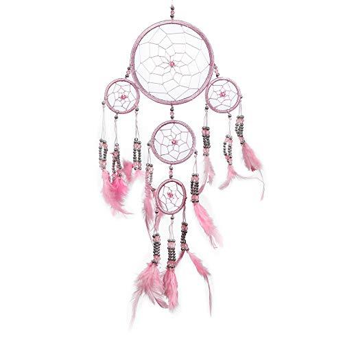 Pink Pineapple Dreamcatcher mit Federn und Silber Perlen: Handgemachter Traumfänger Vielen Farben Erhältlich - Rosa - Kleine Traumfänger Mit 12 cm Durchmesser und 35 cm Lang