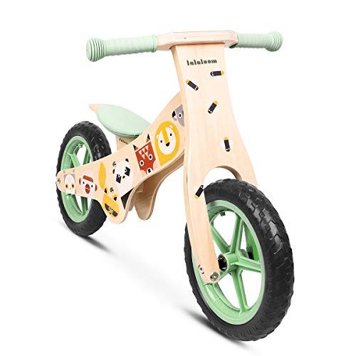 Lalaloom WILD BIKE - Bicicleta sin pedales de madera para niños de 2 años (diseño con animales, andador para bebe, correpasillos para equilibrio, sillín regulable con ruedas de goma EVA), color Verde