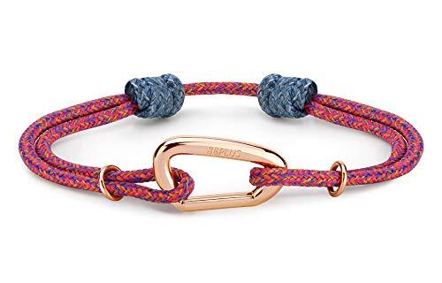 8b+ 8BPLUS Wristband Armband für Kletterer und Boulderer Schmuckelement, Farbe:Noufaro - Karabiner Rose Gold. Schmalles Band!