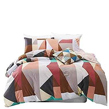 VM VOUGEMARKET Geometric Duvet Cover Set Queen,Full Cotton Colorful Diamond Bedding Set,Reversible Hotel Quality Duvet Cover with Zipper-Queen,Helsinki