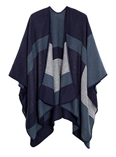 EXCHIC Frauen Warm Open Front Schals und Wraps Elegante Cardigans Poncho Cape Coat (## 3 Marineblau)