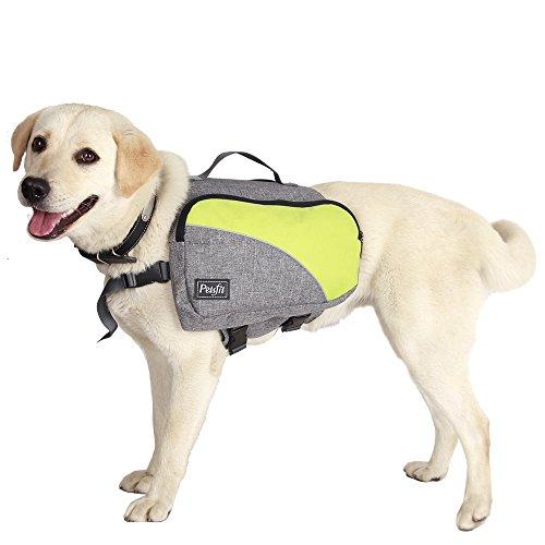 Petsfit einstellbare Hundesatteltasche für mittlere und große Hunde, mit Schnellspanner Haustier Rücksack, tragbare Hunderücksack, mittelgroß, hellgrau