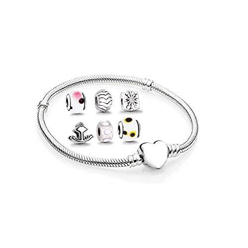 Charms anhänger set mit Armband - zwischenelement element für lederarmband halskette braclet armreif schmuck viele Farben Größen auswahl clips ringe stopper ohrstecker herz rose bead Silber herz 18cm