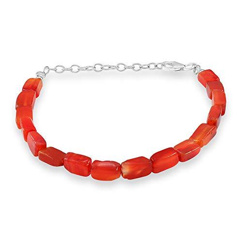 Pulsera de perlas de cornalina roja naranja natural pulsera de piedra cornalina pulsera de plata esterlina piedra cornalina pulsera de cornalina cayó pulsera 925