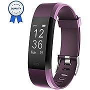HolyHigh Fitness Armband YG3 Plus HR Pulsuhr Aktivitätstracker mit Herzfrequenz Monitor/wasserdichter/Schrittzähler/Anrufbenachrichtigungen/Ruhemodus/Kamerabedienung für Android und iOS (Violett)