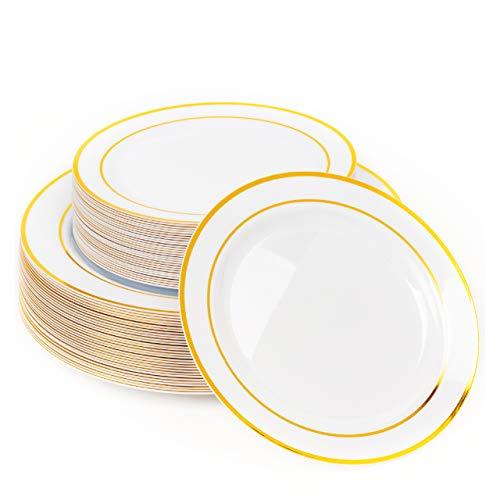 60 Elegante Platos Plástico Duro con Borde Dorado (2 Tamaños)| IRROMPIBLE, 100% Resistentes al Calor, Resistente - Aptos para Lavavajillas y Reutilizable| Bodas Cumpleaños Fiestas Navidad.