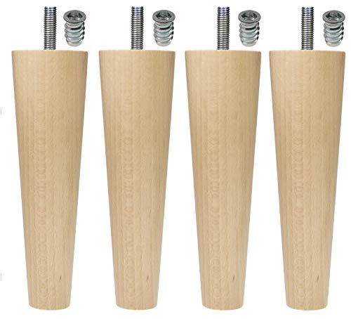Moebelfusse Holz 4 x Ø45-25 mm / 150mm Möbelfüße Kugelfüße Holz Möbelfuß Schrankfüße Schrankfuß BUCHEN HOLZ