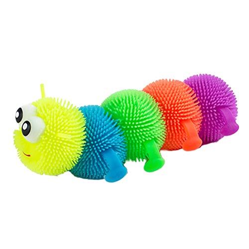 Daxoon Caterpillar Gusano Juguete Suave Amortiguador Que Brilla intensamente Juguete antiestrés para niños