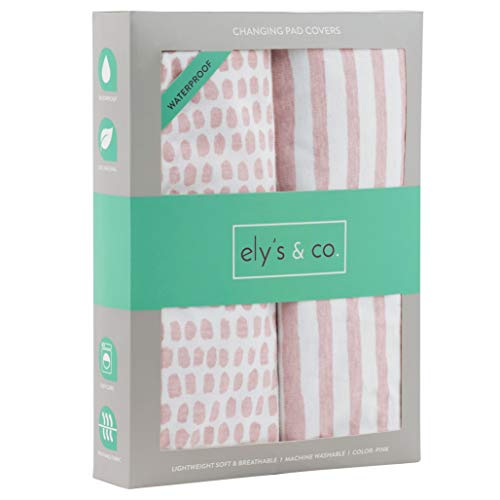 Waterproof Changing Pad Cover Set | Cradle Sheet Set by Ely's & Co no Need for Changing Pad Liner Mauve Pink Splash & Stripe 2 Pack for Baby Girl