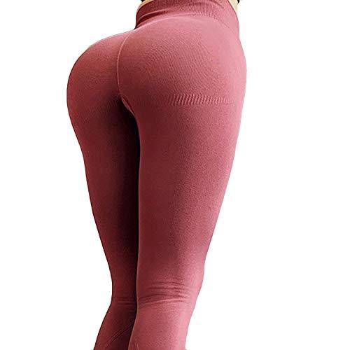LSRRYD Mallas Leggings Mujer Pantalones de Yoga Fitness Cintura Alta Pantalones Deportivos para Yoga Running Fitness con Gran Elásticoss (Color : Red, Size : S)