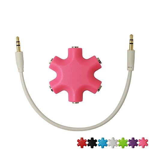 Segmoi (TM) a forma di fiocchi di neve 6-way 3.5mm stereo audio Headset Hub splitter fino a 5cuffie per iPhone 44S 55S 66Plus iPad iPod Touch MP3MP4Samsung HTC BlackBerry LG Huawei Xiaomi