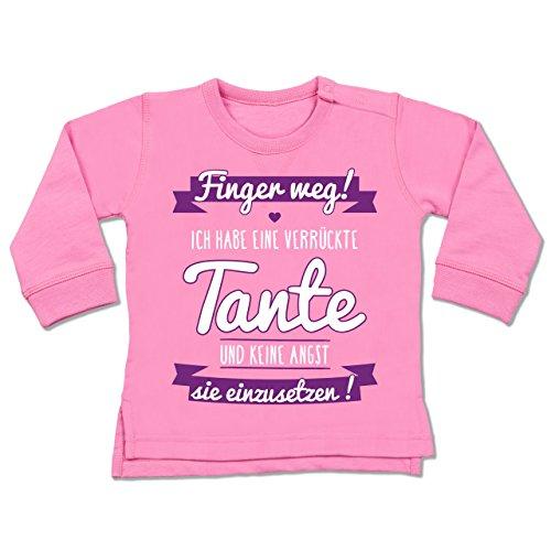 Shirtracer Sprüche Baby - Ich Habe eine verrückte Tante Lila - 12-18 Monate - Pink - BZ31 - Baby Pullover