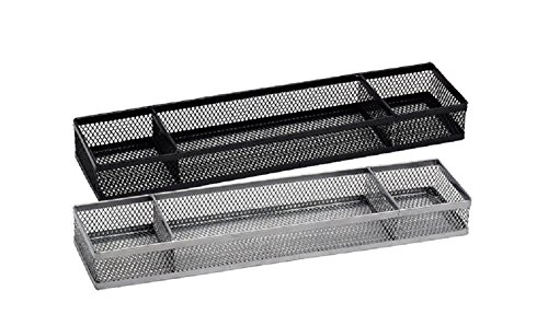 Multifunctional 3-Section Wire Mesh Desk Office Organizer - Conveniently sort All Your Essentials Like Paper Clips, Sticky Notes, pens, Rubber Bands, Thumb Tacks, and More (Black)