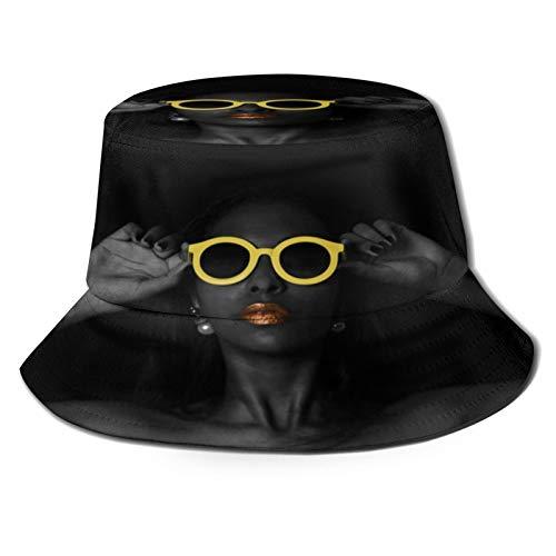 Sombrero de Pesca,Gafas de Mujer Sexy Blanco y Negro,Senderismo para Hombres y Mujeres al Aire Libre Sombrero de Cubo Sombrero para el Sol