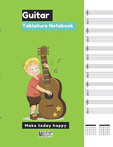 Guitar Tablature Notebook Chartreuse green cover, 100 pages - Large(8.5 x 11 inches)