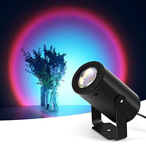 Sunset Lamp, KNMY Proyección LED, KNMY Rotación 180° Luz Nocturna Night Light Projector Romántico Visual, lámpara de pie moderna para la decoración del banquete de boda del dormitorio (arcoíris)
