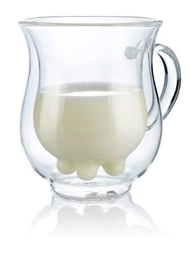 Cucina di Modena Milchglas: Doppelwandige Milchtasse mit witzigem Euterdesign, 200 ml (Kuhtasse)