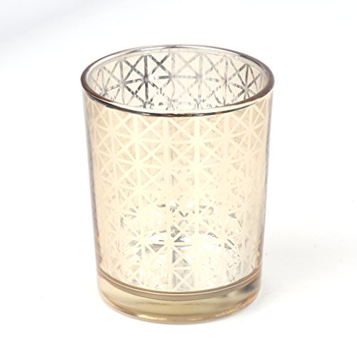 Yunso Photophore en verre avec mosaïque en grille pour bougie chauffe-plat - Pour décoration de maison, fête, mariage