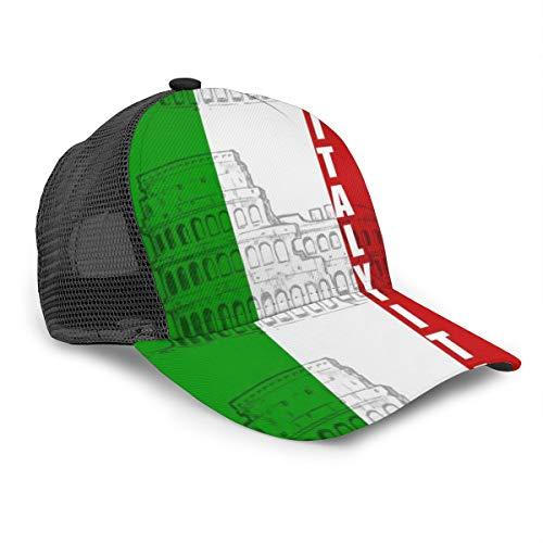 Unisex Baseball Cap Italien Italienische Flagge Römische Kolosseum Caps Snapback Bill Hip Hop Hüte Hut Schwarz